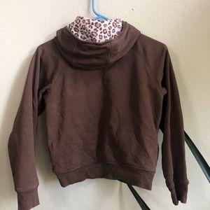 Gymboree Shirts & Tops - Gymboree brown zip up hoodie w/ pink cheetah print